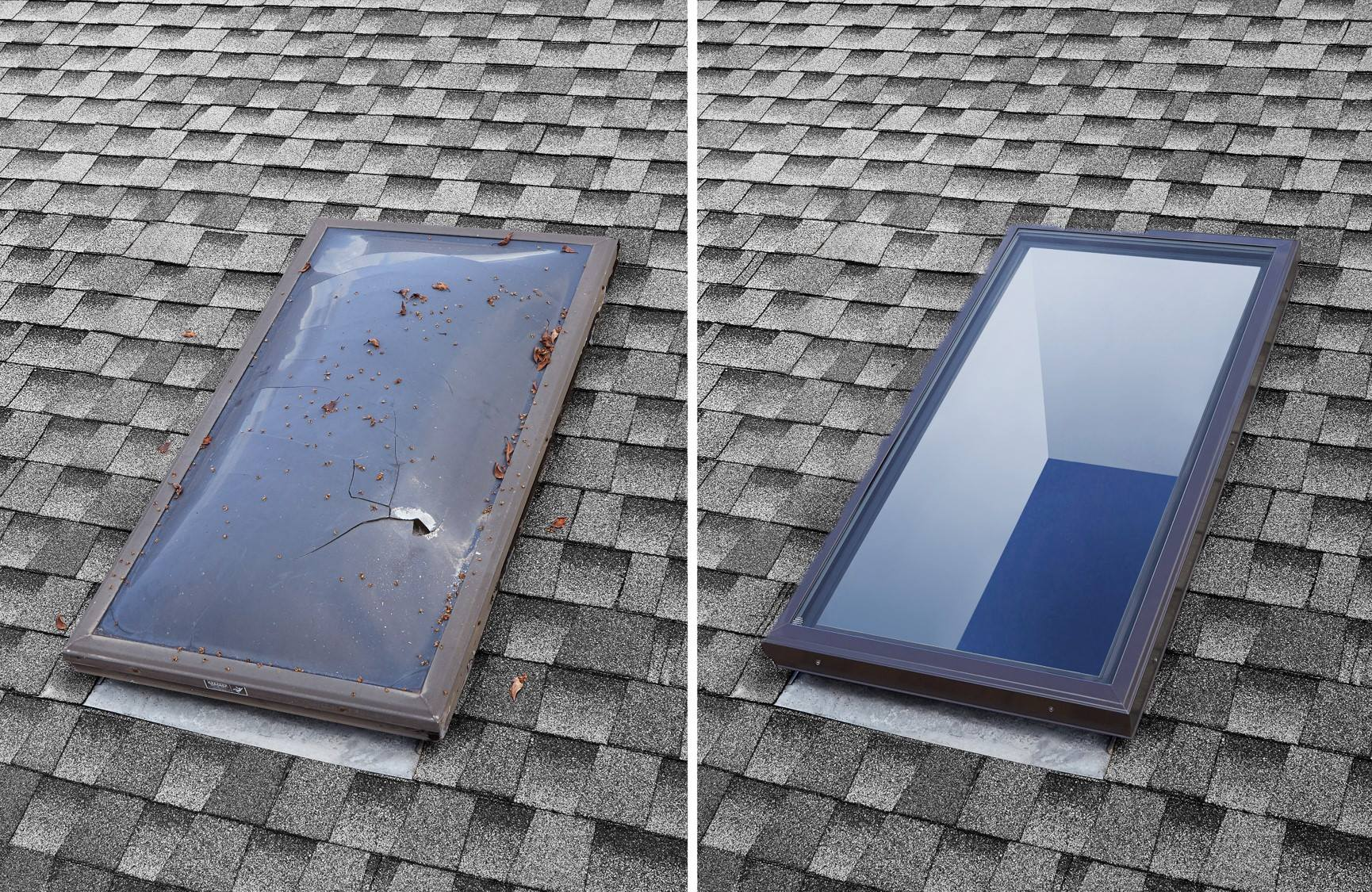 Before and after skylight replacement Long Beach, CA