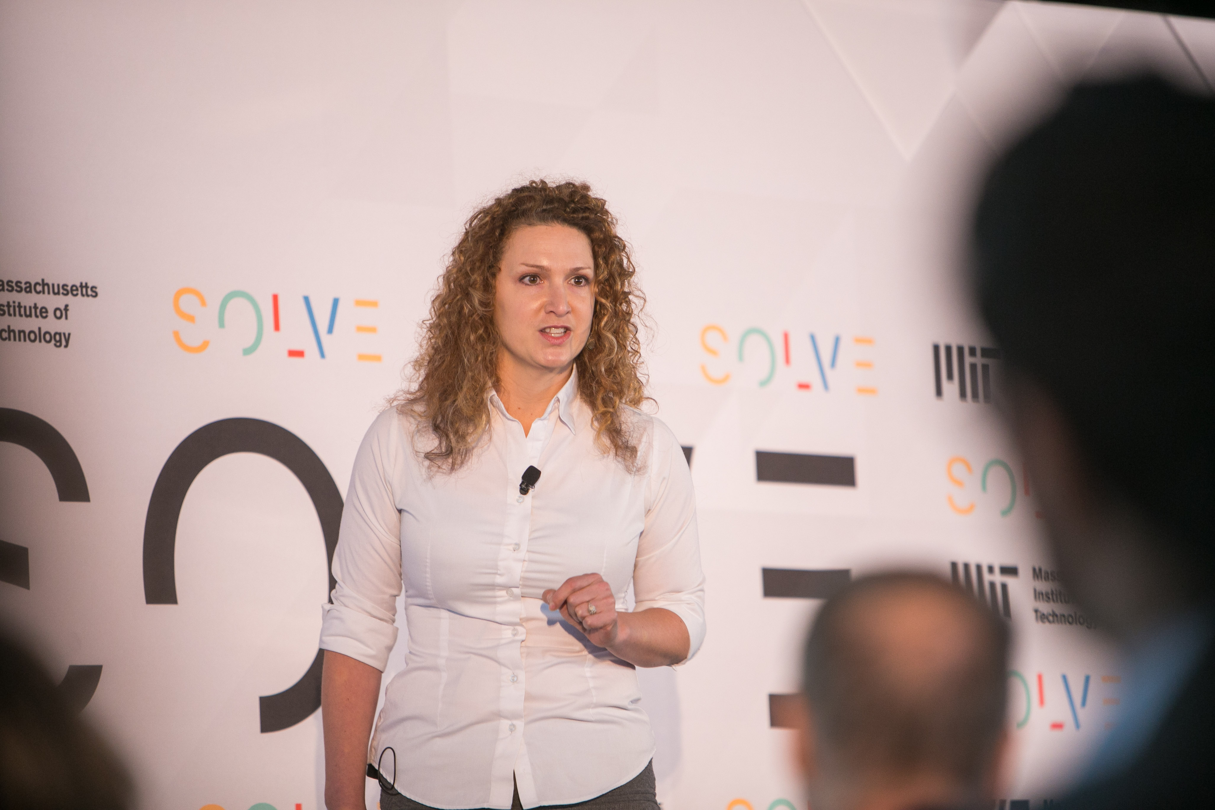 Jessica Hubley pitches AnnieCannons at Solve Challenge Finals on September 17, 2017. (Photo: Samuel Stuart / MIT Solve)