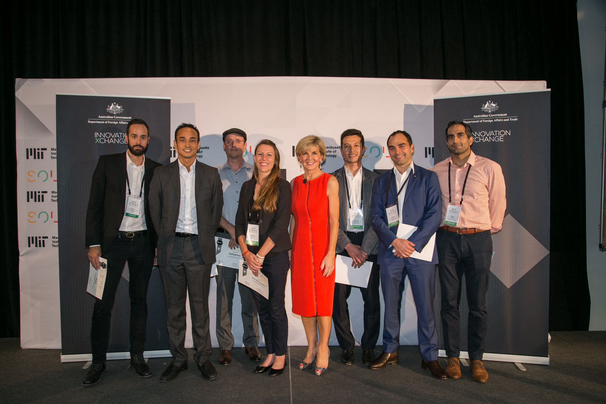 Australian Minister for Foreign Affairs the Honorable Julie Bishop MP celebrates the selected Solver teams for the DFAT Prize in the Youth, Skills, and the Workforce of the Future Challenge, September 17, 2017. (Photo by Samuel Stuart / MIT Solve)