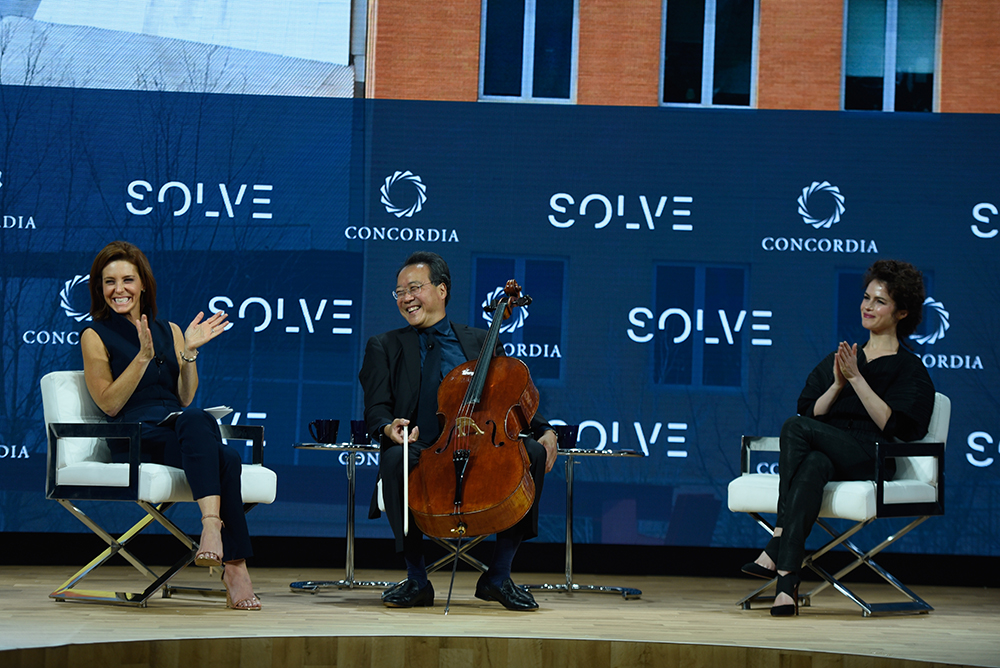 Anchor Stephanie Ruhle, MSNBC, Cellist Yo-Yo Ma, Curator of the MIT Solve Arts and Culture Mentorship Prize, and Dr. Neri Oxman, Associate Professor of Media Arts and Sciences, MIT, speak at The 2017 Concordia Annual Summit at Grand Hyatt New York on September 18, 2017 in New York City. (Photo by Riccardo Savi/Getty Images for Concordia Summit)