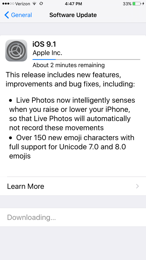 iOS 9.1 Update screen