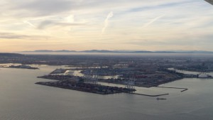 Long Beach Harbor At Dusk (from the air)