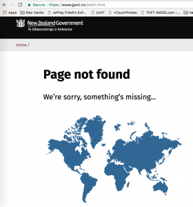 New Zealand Government Website 404 Page