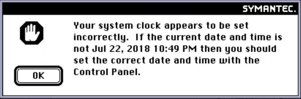 Norton 2.0.6 date error in 2018