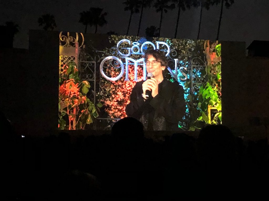 Neil Gaiman introducing good omens at screening