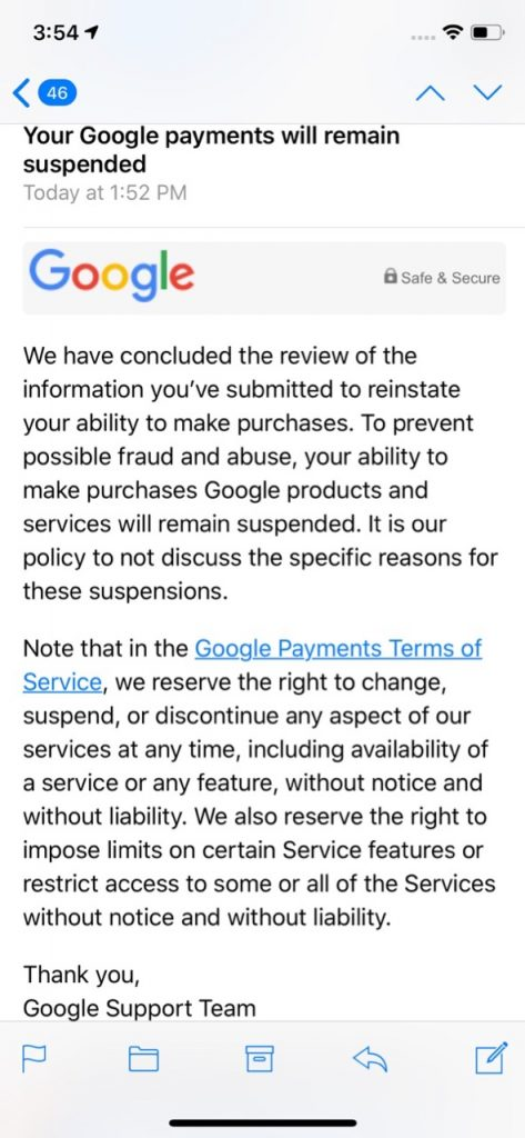 Google Play Fail - Rejected reinstatement