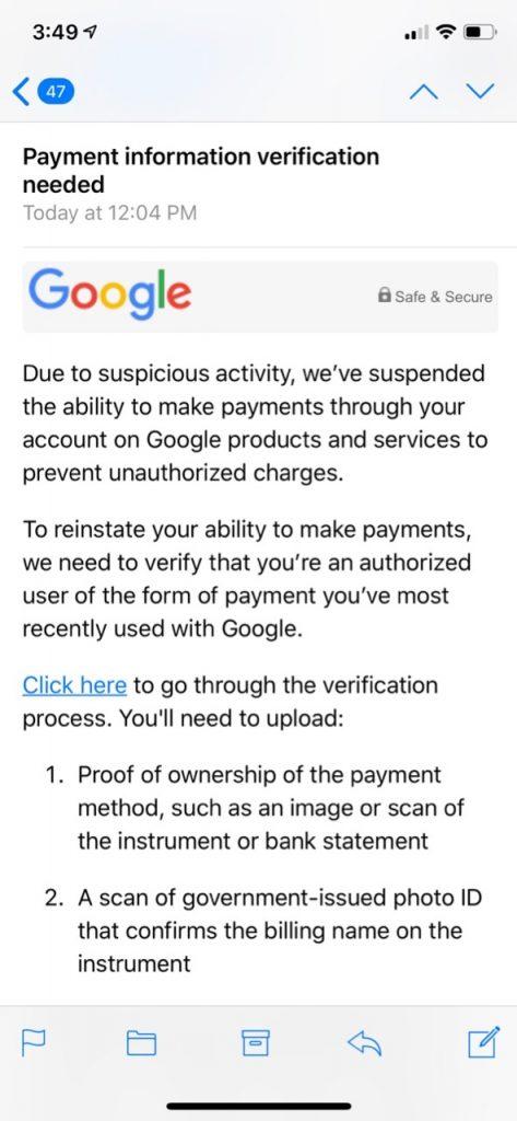 Google Play Fail - Suspicious Activity