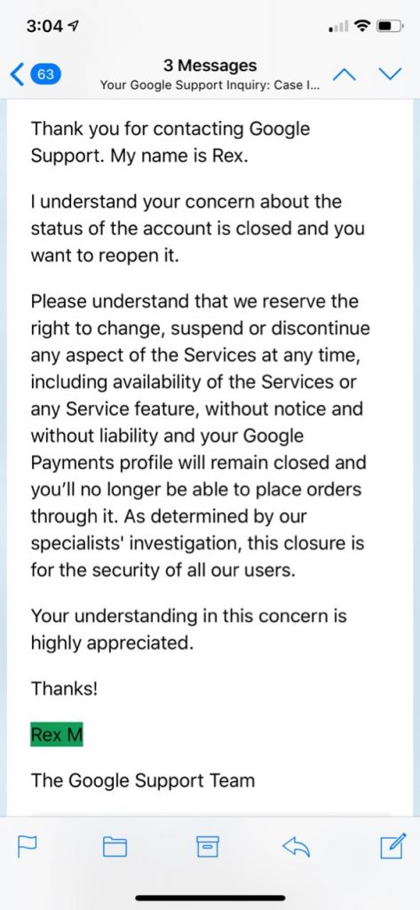 Google PlayFail Final Responce
