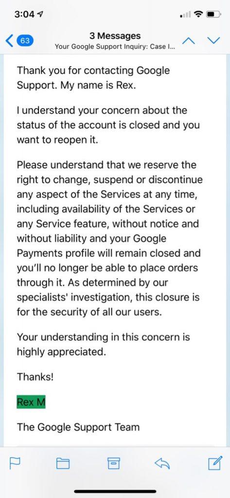 Google PlayFail Final Responce