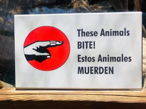 San Diego Zoo Safari Park - Animals Bite Sign