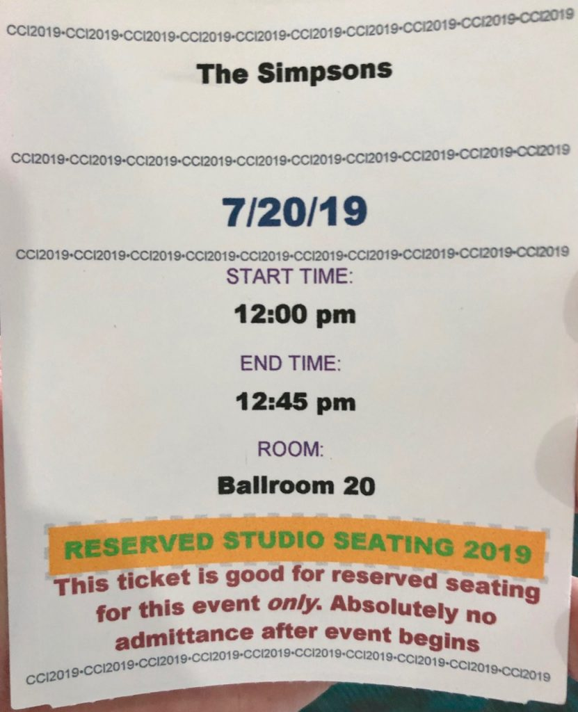 Comic Con 2019 - Simpsons Panel Invite!