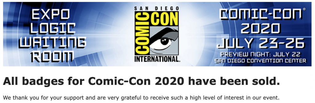 Comic-Con 2020 Sold out