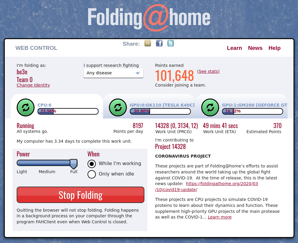 folding@home status panel