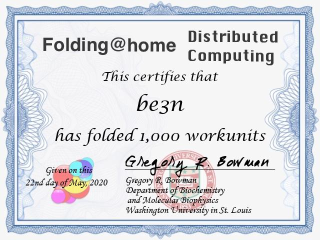 Folding@Home Certificate