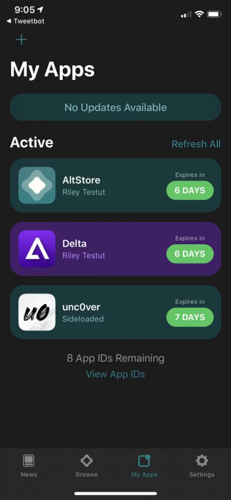 AltStore Sideloads Unc0ver