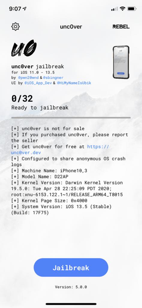 Unc0ver on iOS 10.13.5