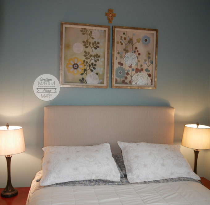 upholstered headboard guest room