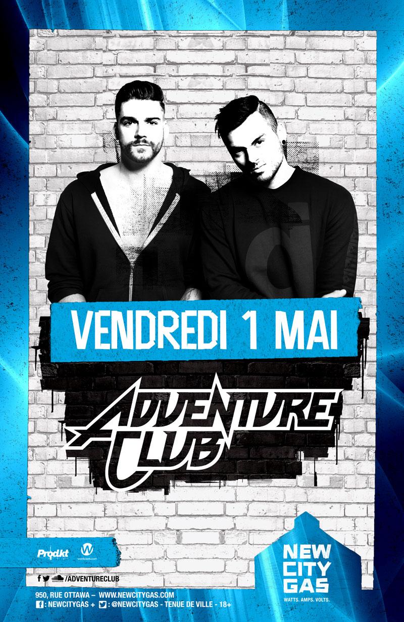 Adventure Club au New City Gas | Vendredi 1 Mai