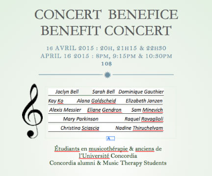Concordia Musicothérapie concert bénéfice