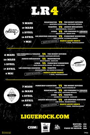 Ligue Rock 4 – Les Ordures Ioniques VS Tempête + MadManMind + Les Chiens de Ruelles