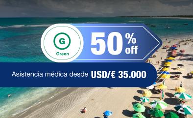 50% off hasta 60 días de viaje - green