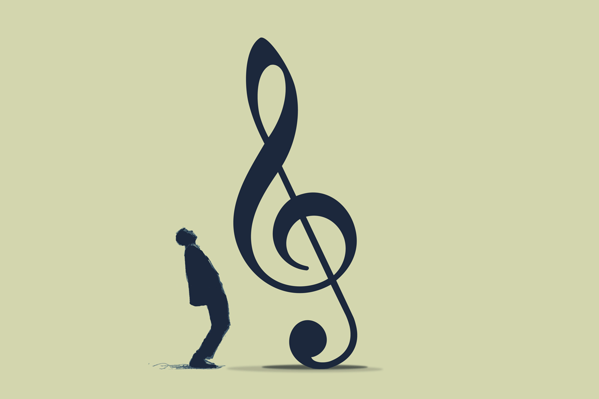 big treble clef falling on man - notes from a non-songwriter - songwriting tips