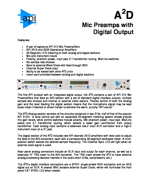 API A2D Dual Mic Preamp Brochure