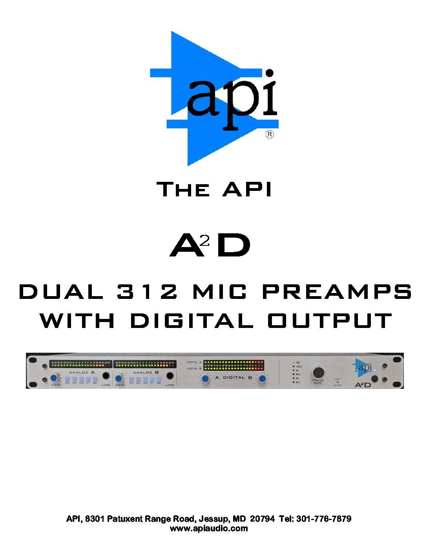 API A2D Dual Mic Preamp Manual