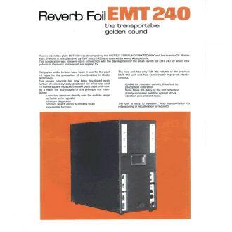 EMT 240 Gold Foil Vintage Stereo Analog Reverb