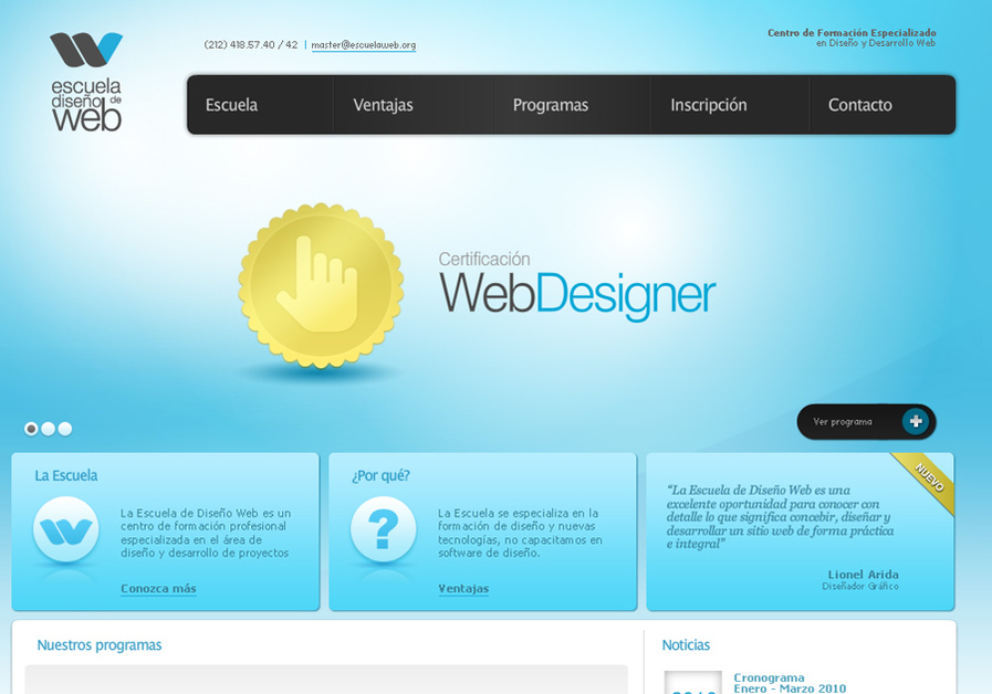 A great web design by Zabala (latin), New York, NY: