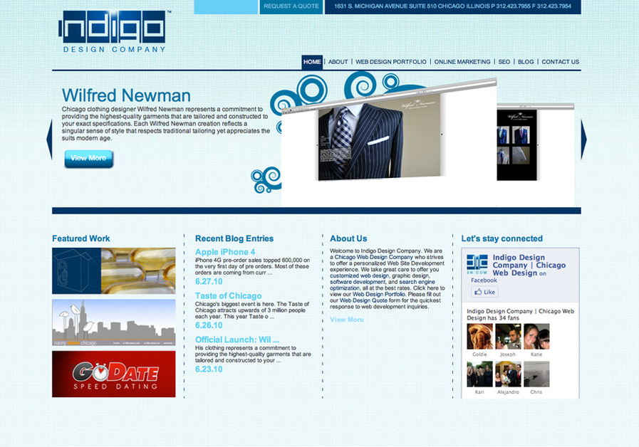 A great web design by Indigo Design Company, Chicago, IL: