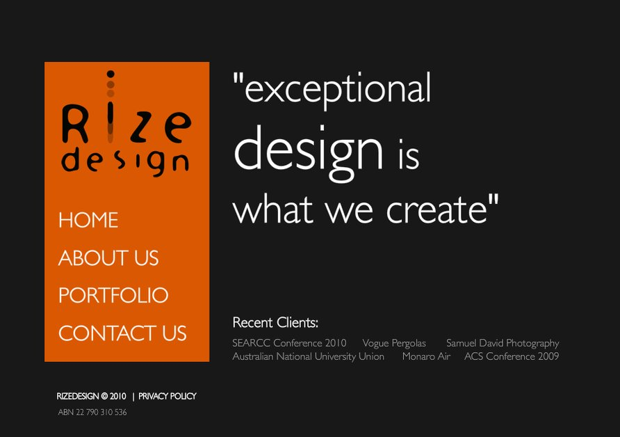 A great web design by Rize Design, Canberra, Australia: