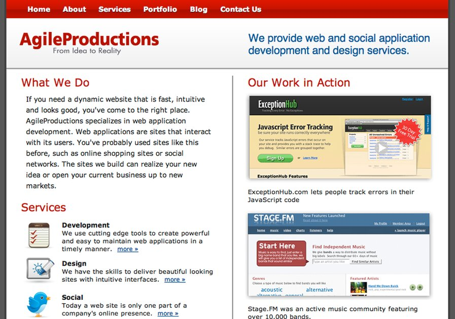 A great web design by Agile Productions, Bozeman, MT: