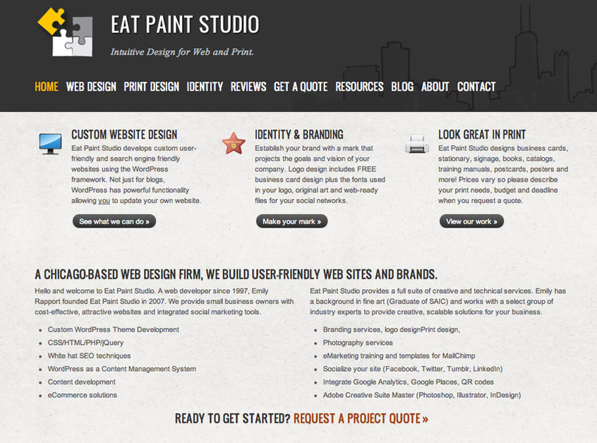 A great web design by Eat Paint Studio, Chicago, IL: