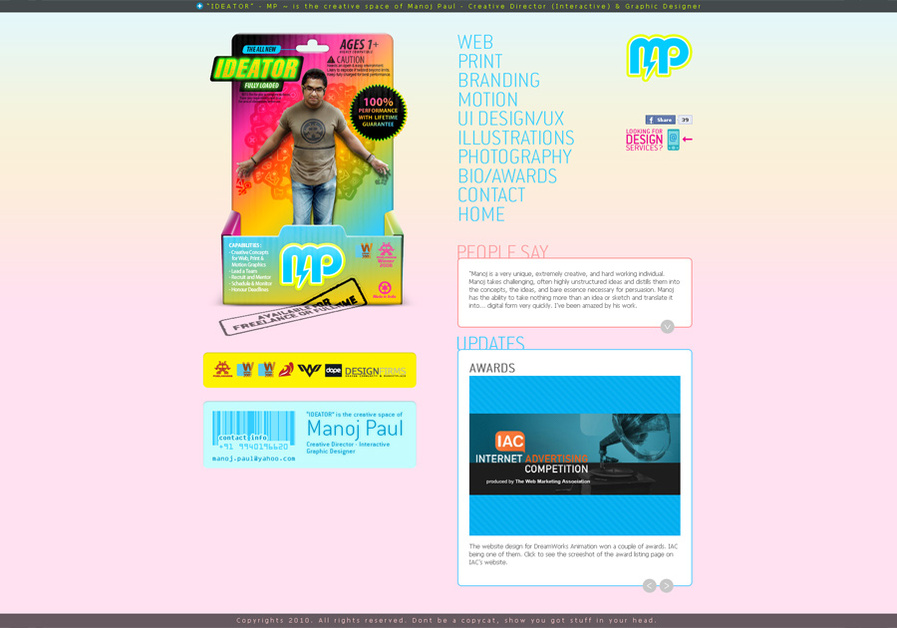 A great web design by Manoj Paul, Chennai, India: