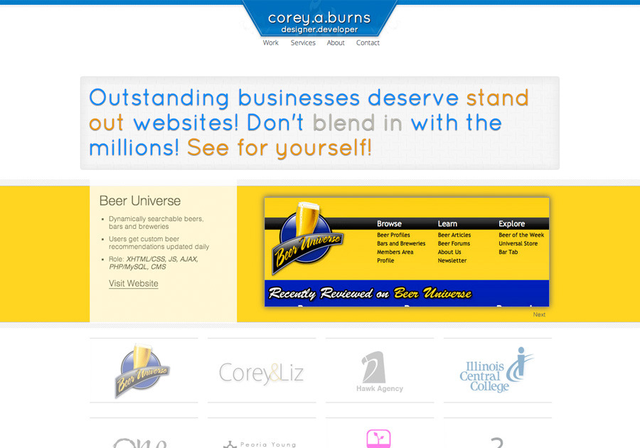 A great web design by Corey Burns, Peoria, IL: