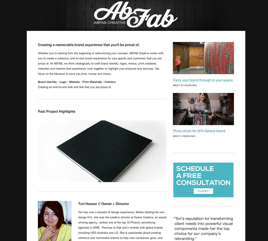 A great web design by AbFab Creative, Phoenix, AZ: