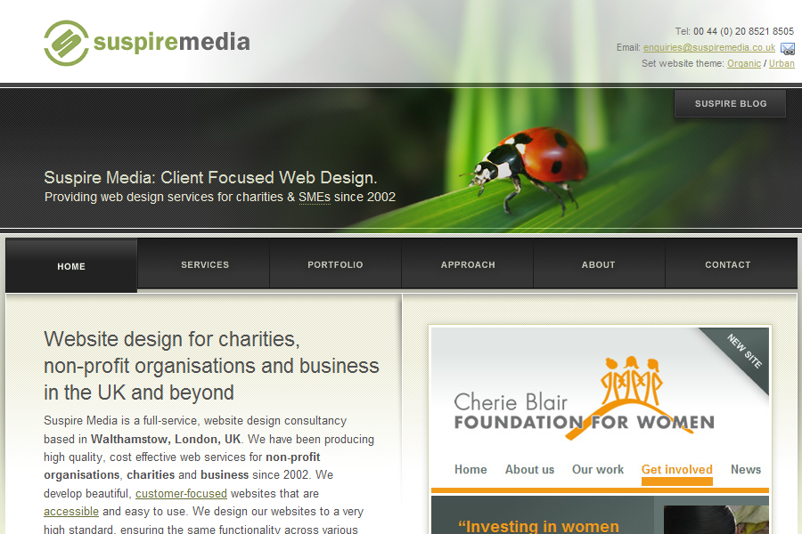 A great web design by Suspire Media, London, United Kingdom: