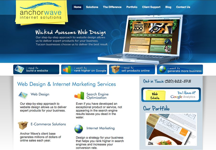 A great web design by Anchor Wave, Phoenix, AZ: