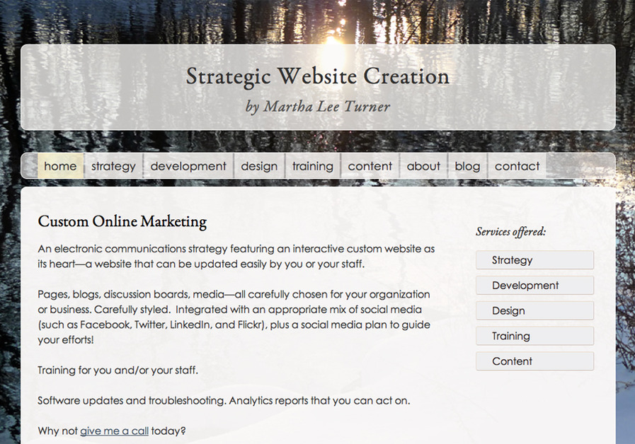 A great web design by Martha Lee Turner, Chicago, IL: