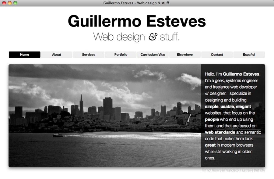 A great web design by Guillermo Esteves, Washington DC, DC:
