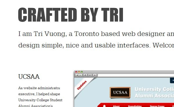 A great web design by Tri Vuong, Toronto, Canada: