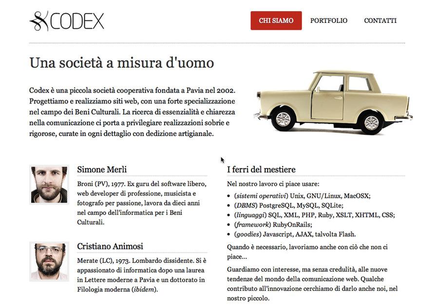 A great web design by Codex, Milano, Italy: