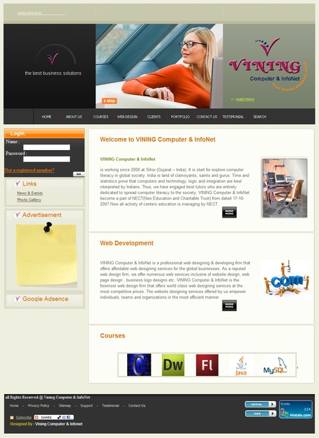A great web design by VINING Computer & InfoNet, Sihor, India: