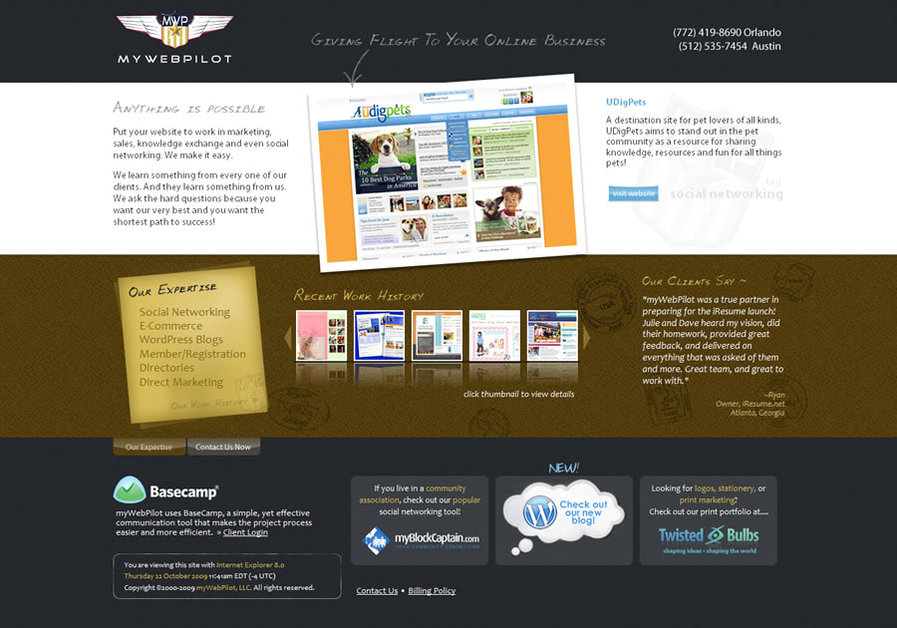A great web design by myWebPilot, LLC., Miami, FL: