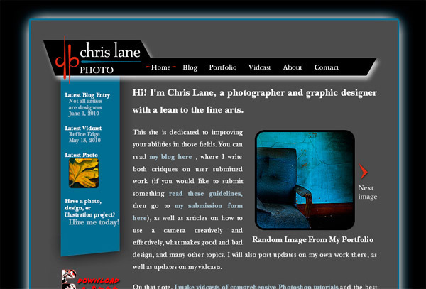 A great web design by Chris Lane Photo, Minneapolis, MN: