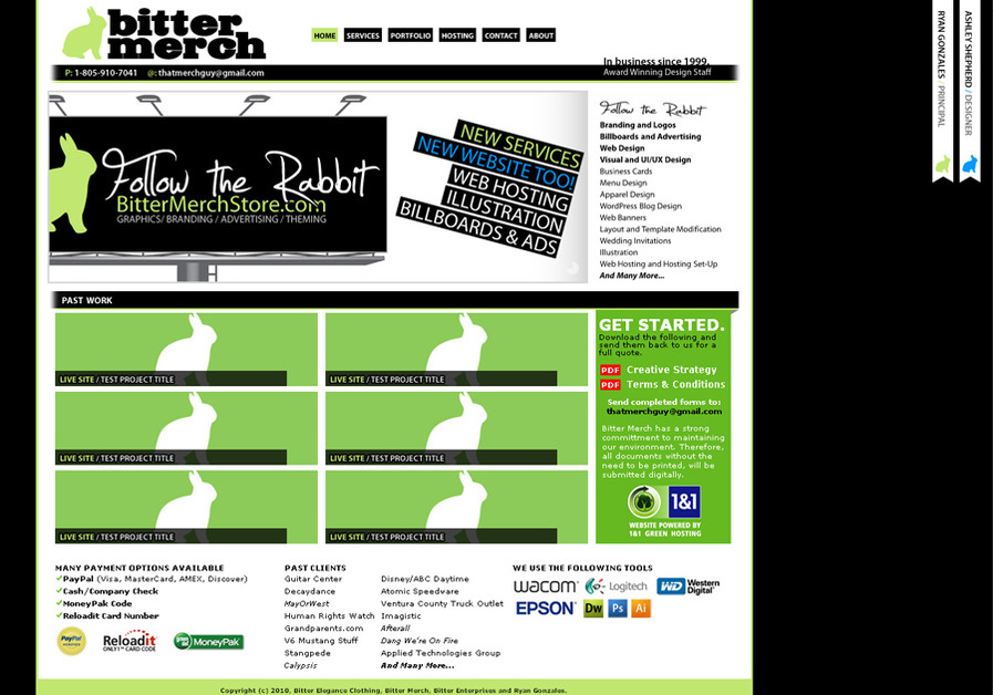 A great web design by Bitter Merch, Camarillo, CA: