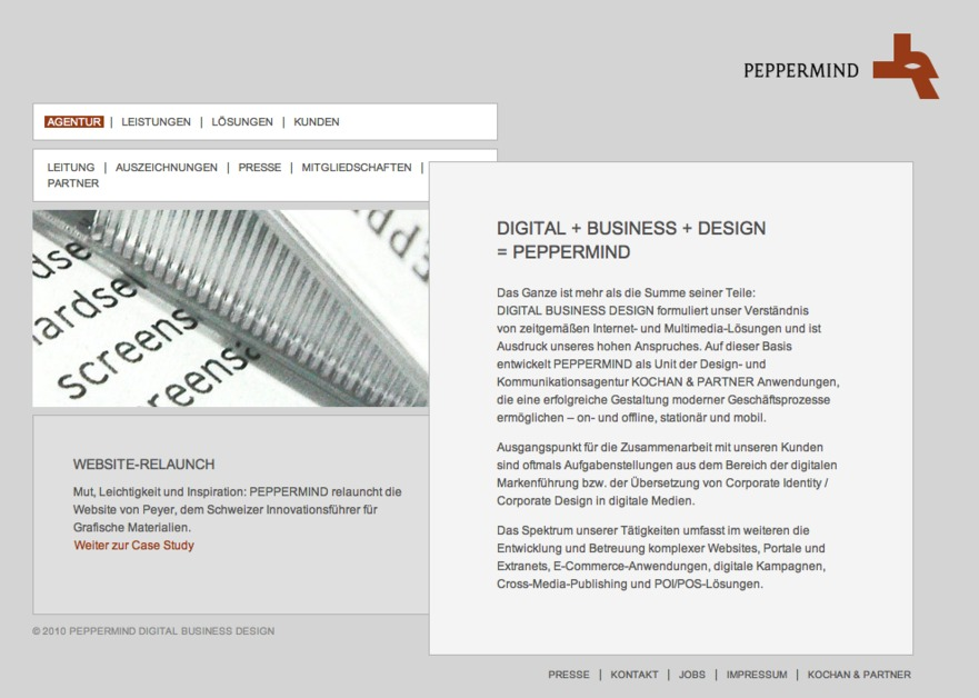 A great web design by PEPPERMIND, Munich, Germany: