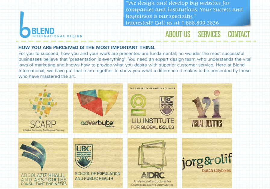 A great web design by Blend International, Vancouver, Canada: