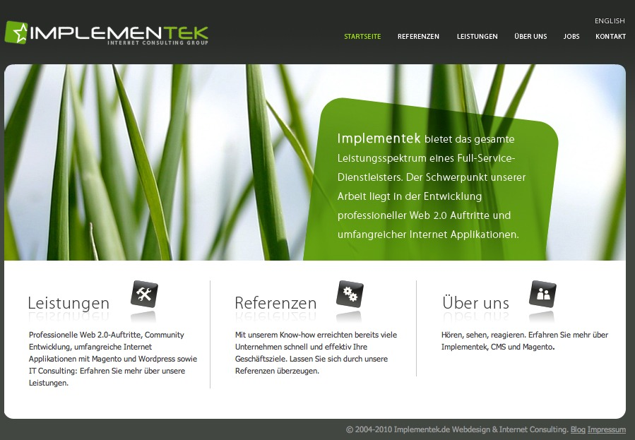 A great web design by Implementek.de, Munich, Germany: